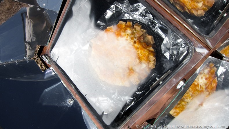 Bread pudding in solar oven xxx